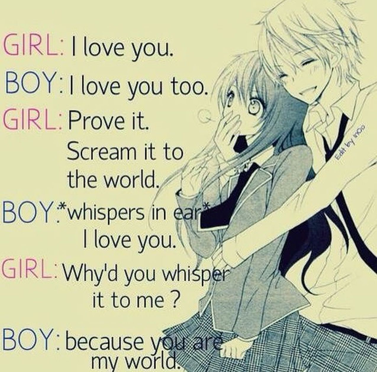 You are my world 💕  Anime love quotes, Cute quotes, Cute