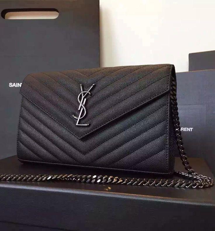 aec6b5174aaf Monogram Saint Laurent Chain Wallet in Black Grain de Poudre Textured Matelasse  Leather with Gun-