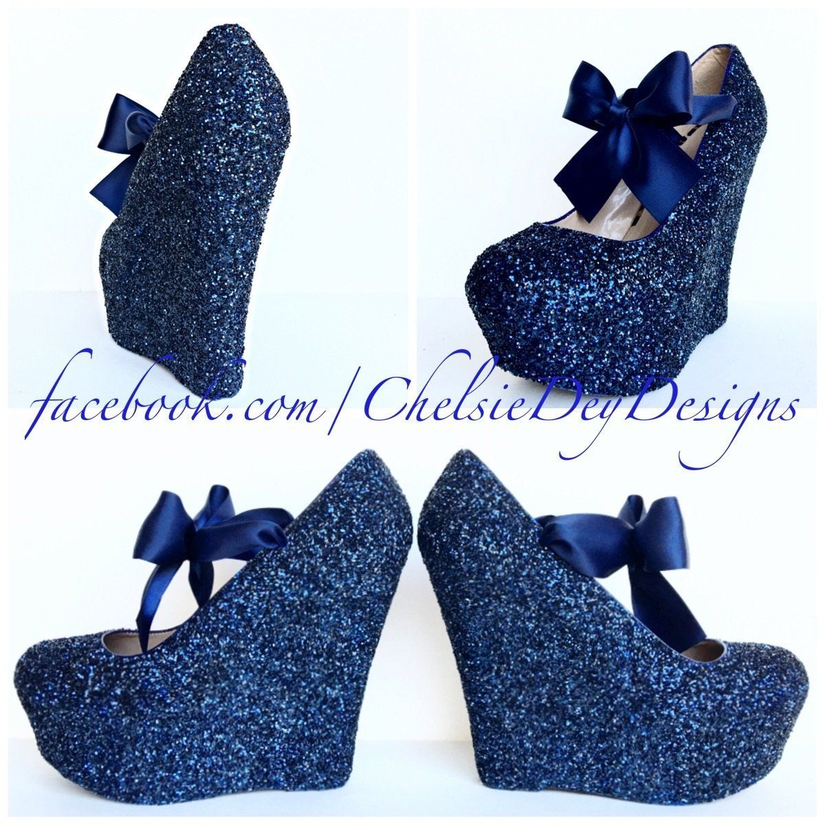 Navy Blue Wedge Glitter Pumps Midnight Wedding High Heels Highheelswedge