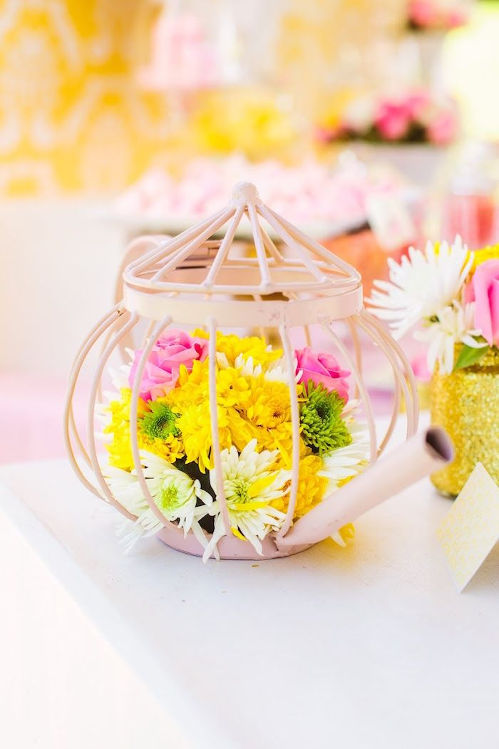 Princess Belle Party Decorations Wire Tea Kettle Flower Centerpiece From A Princess Belle Beauty