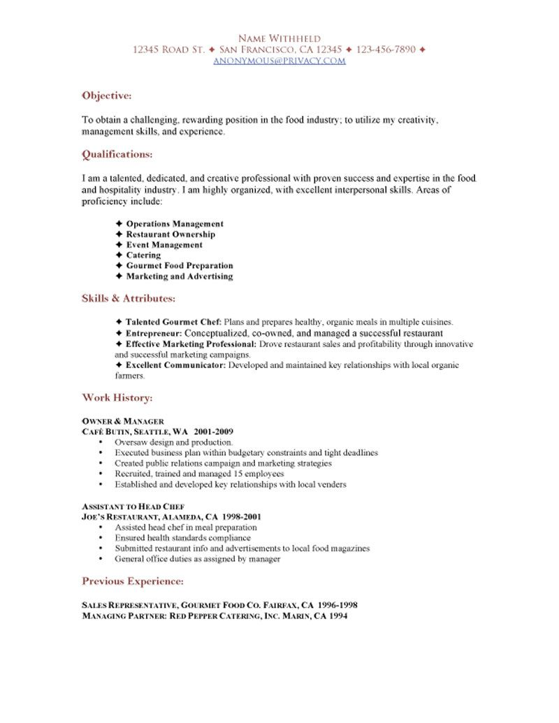 SAMPLE RESTAURANT RESUMES Restaurant Functional Resume