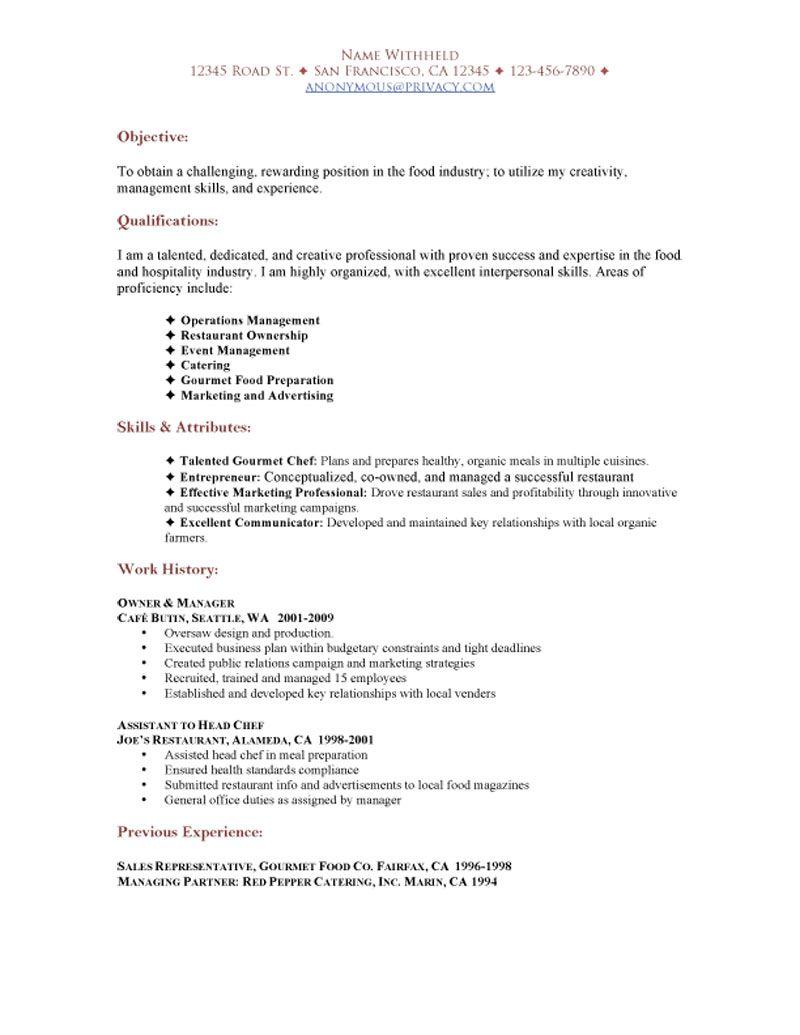 Restaurant Functional Resume Sample Job Resume Examples Restaurant Resume Functional Resume