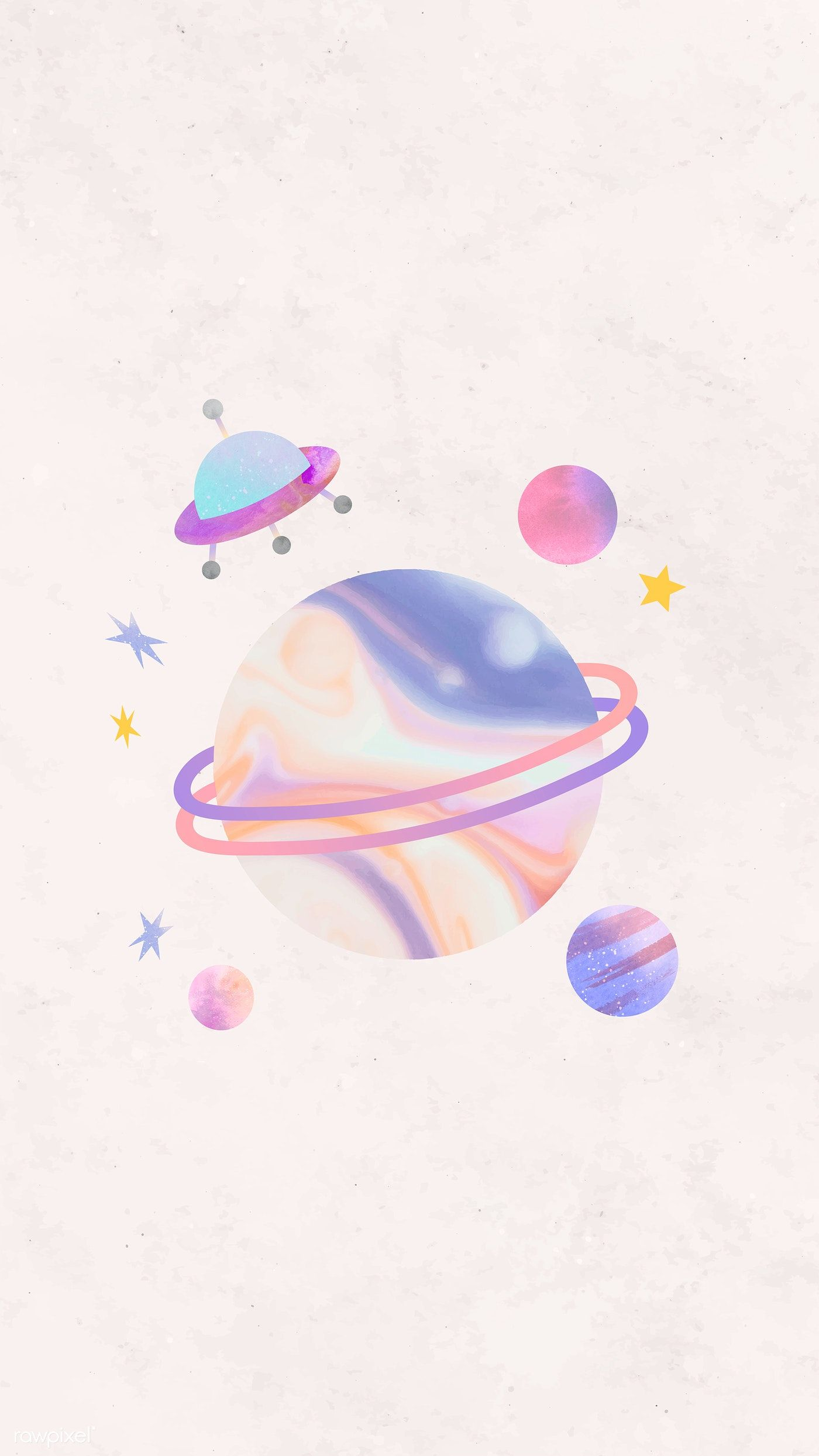 Download premium vector of Colorful galaxy watercolor doodle with an UFO