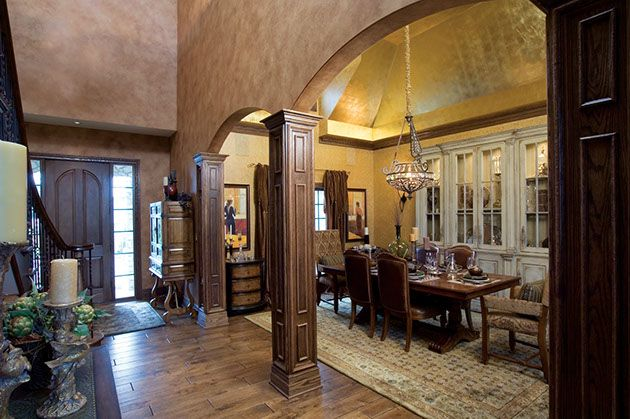 Lots of nice details in this grand dining room - pillars, arches and ceiling...  #diningrooms  #luxurydiningrooms homechanneltv.com