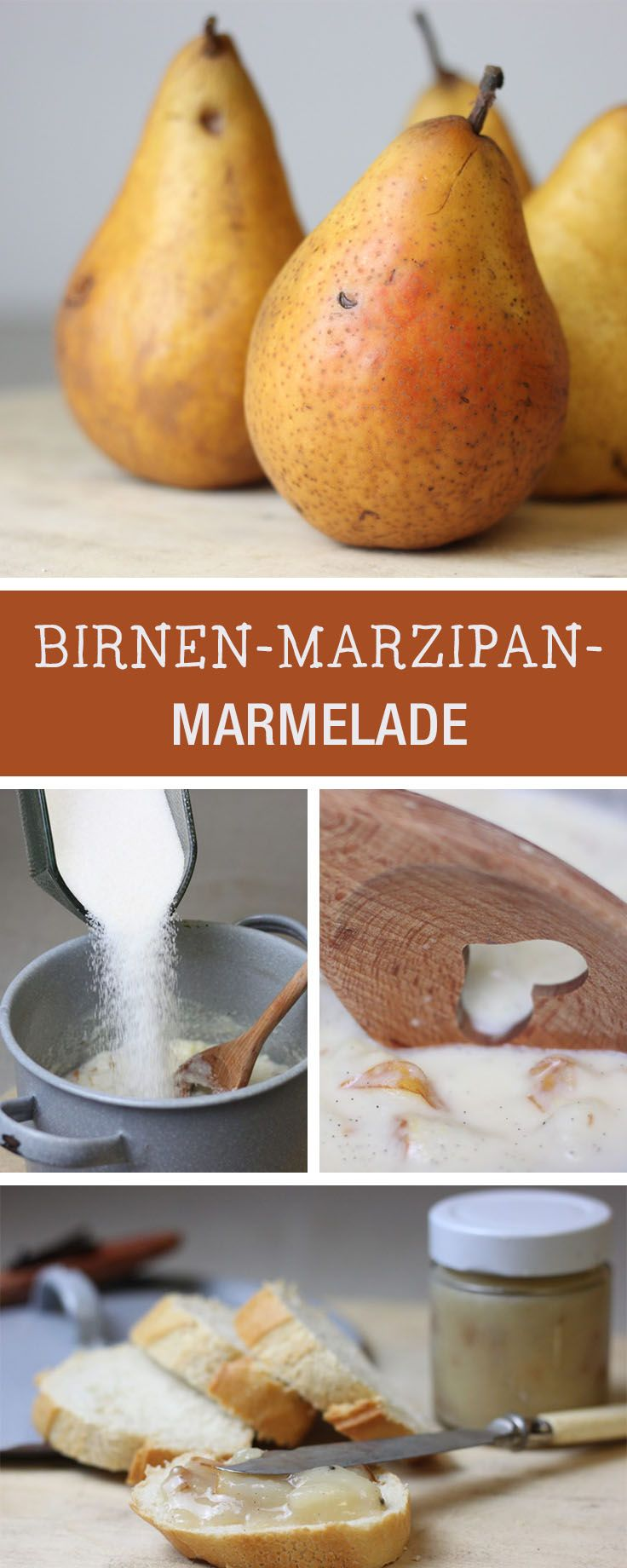 rezept birnen marzipan marmelade einkochen recipe for pear marzipan marmelade via. Black Bedroom Furniture Sets. Home Design Ideas