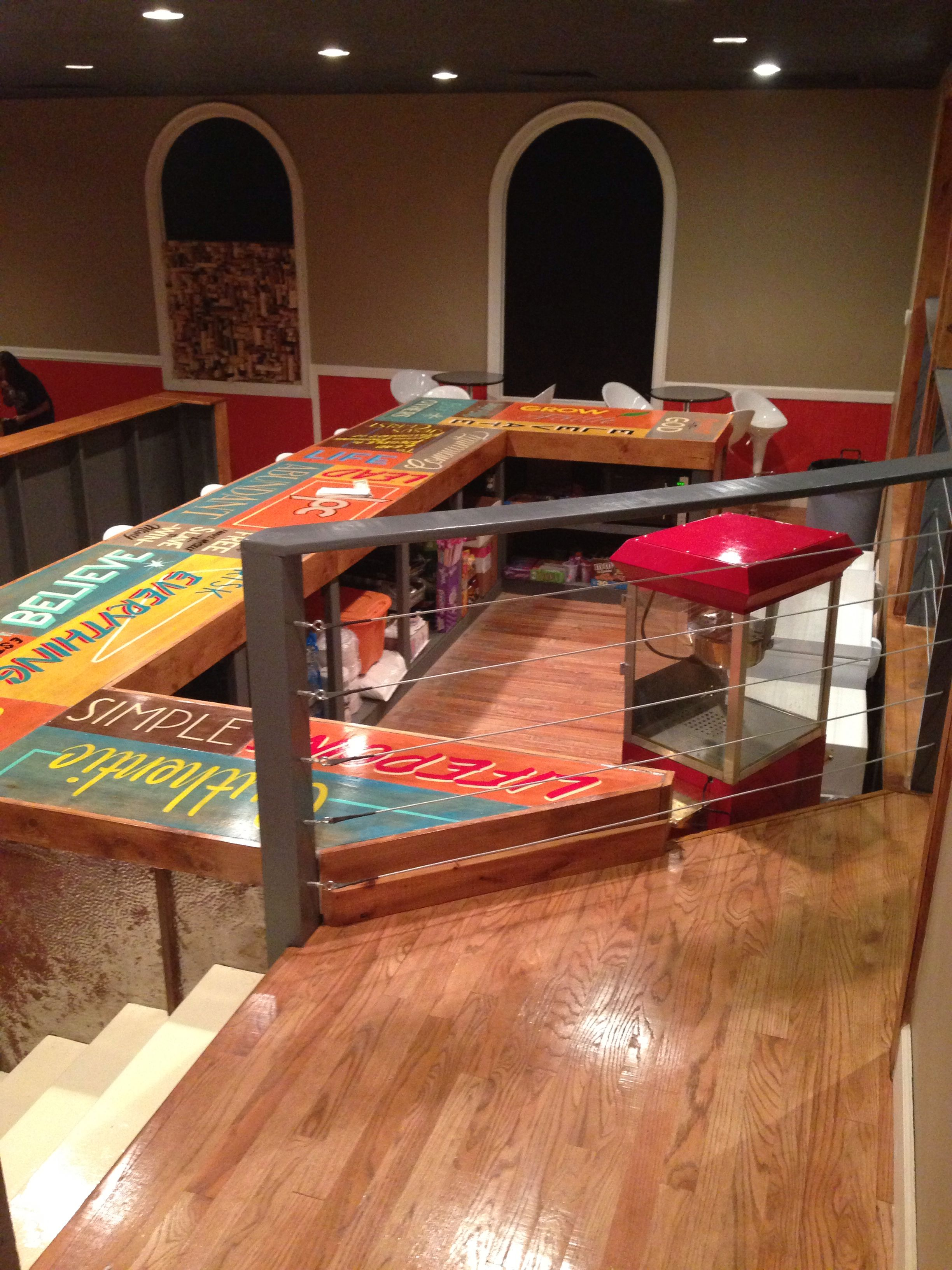 Church Youth Room Ideas Stage: Hand Painted Sign Countertop By Chastin Brand. Church
