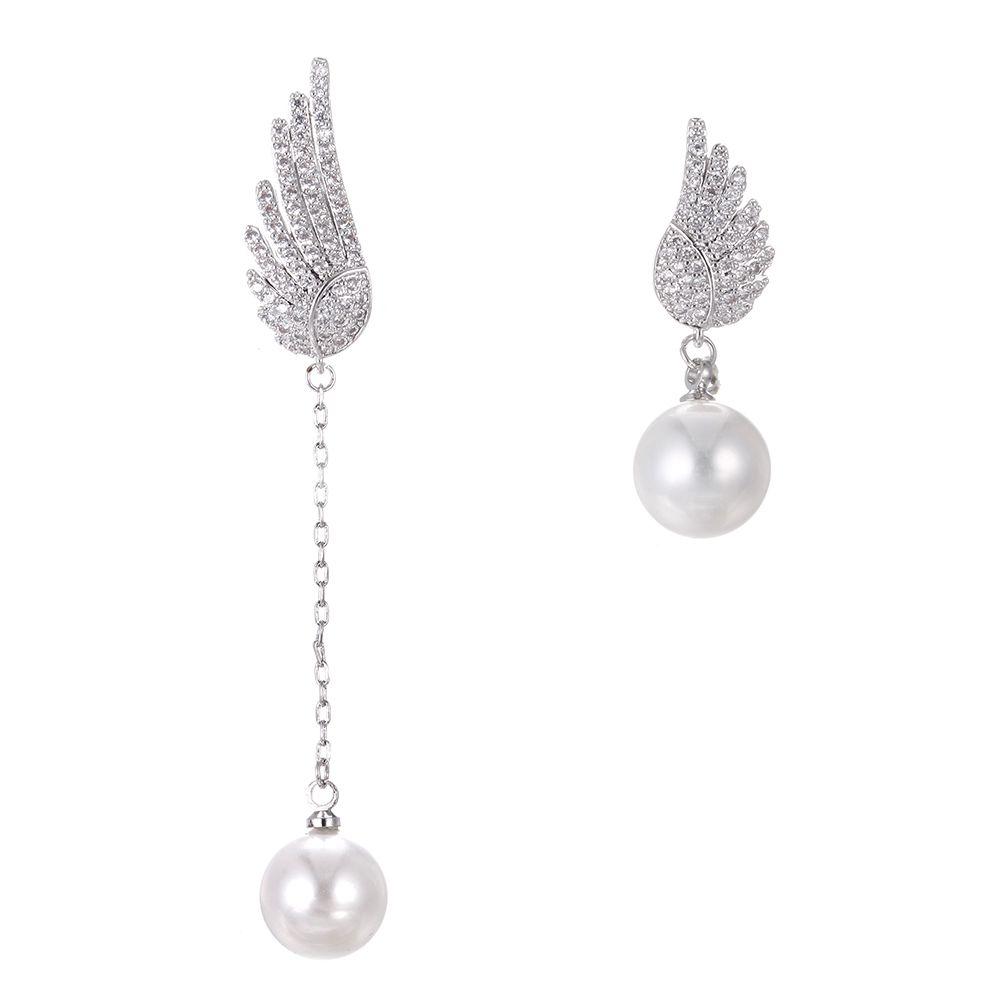 >> Click to Buy << Anti-allergic s925 silver needles angel wing earrings female asymmetrical long section AAA zircon natural earrings earrings #Affiliate