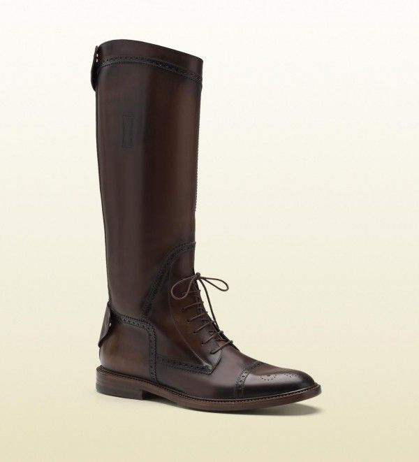 8057db5d387 Gucci men redoute brown perforated leather tall boots 1