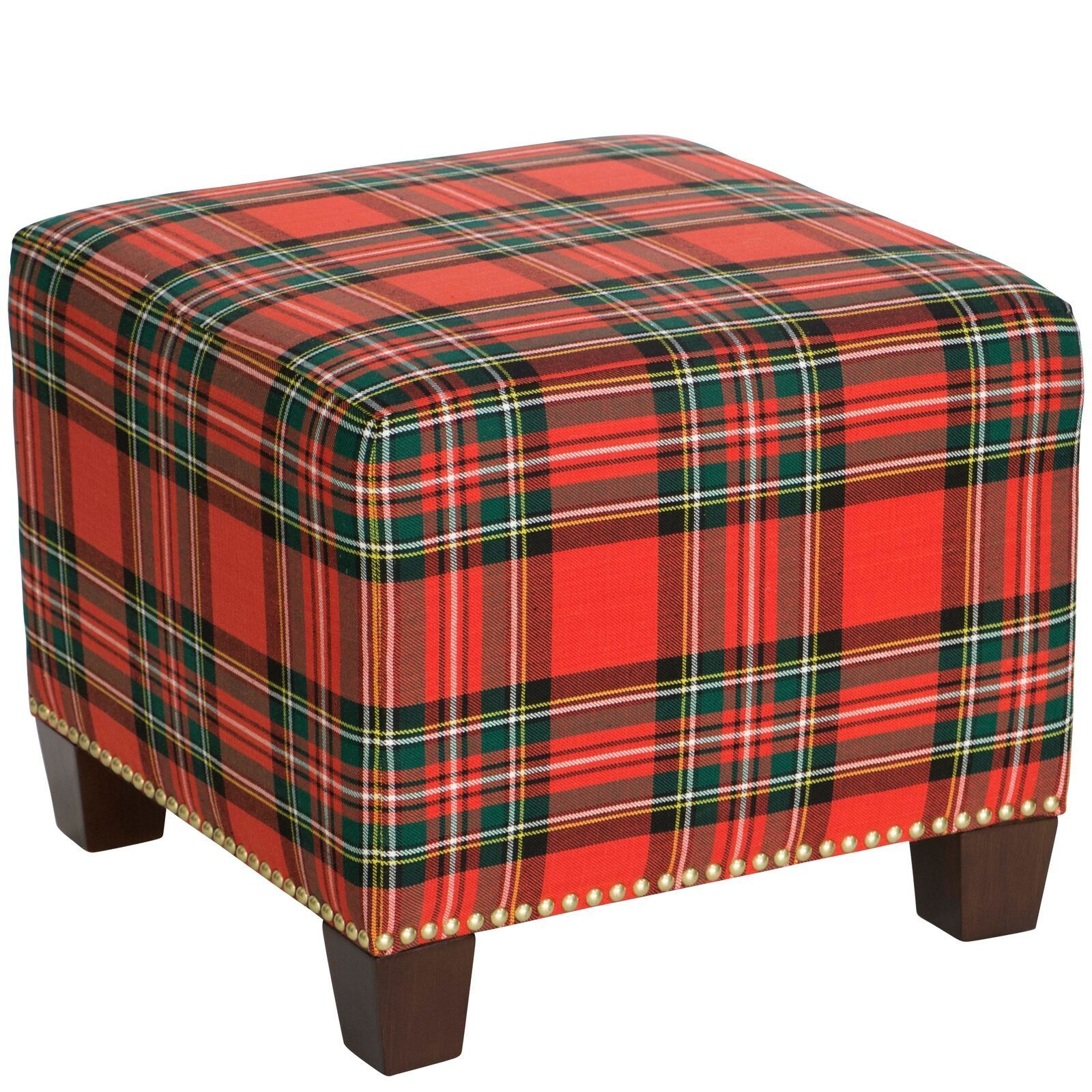 Fine New Red Tartan Plaid Ottoman Foot Stool Footstool W Bralicious Painted Fabric Chair Ideas Braliciousco