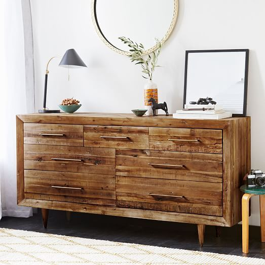 Alexa Reclaimed Wood 7 Drawer Dresser Honey Reclaimed Wood Dresser Bedroom Night Stands Decor