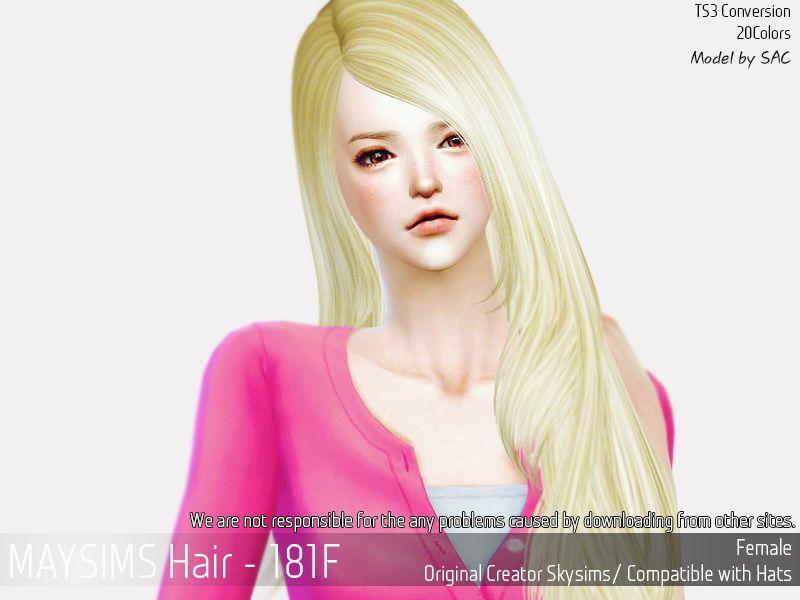 MAY Sims: Hair 181F hair retextured  - Sims 4 Hairs - http://sims4hairs.com/may-sims-hair-181f-hair-retextured/