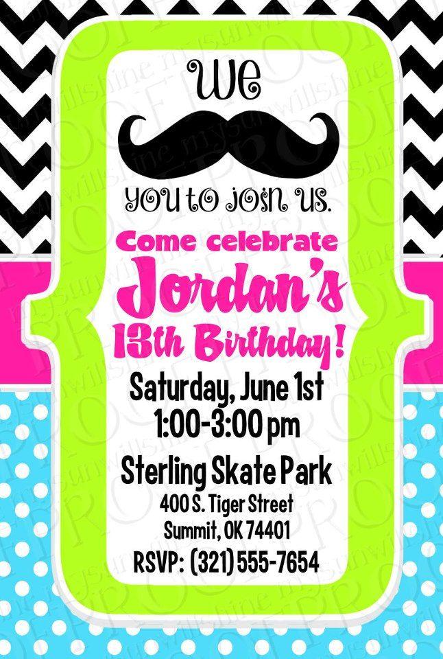 Mustache Birthday Party Invitation Mysunwillshine Invitations