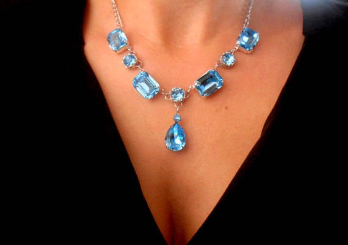 Antique Crystal Blue Crystal Necklace Crystal Jewellery Antique Necklace Blue Jewellery Birthday Anniversary Gift Art Deco Necklace
