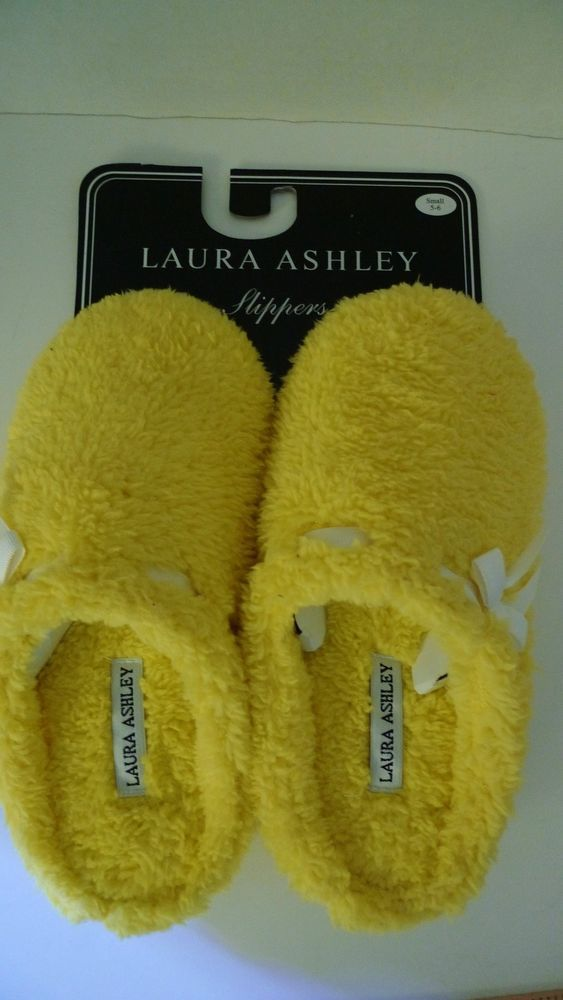 Laura Ashley Slippers Size Small 5 6 Yellow fuzzy with white ribbon #LauraAshley #Scuffs
