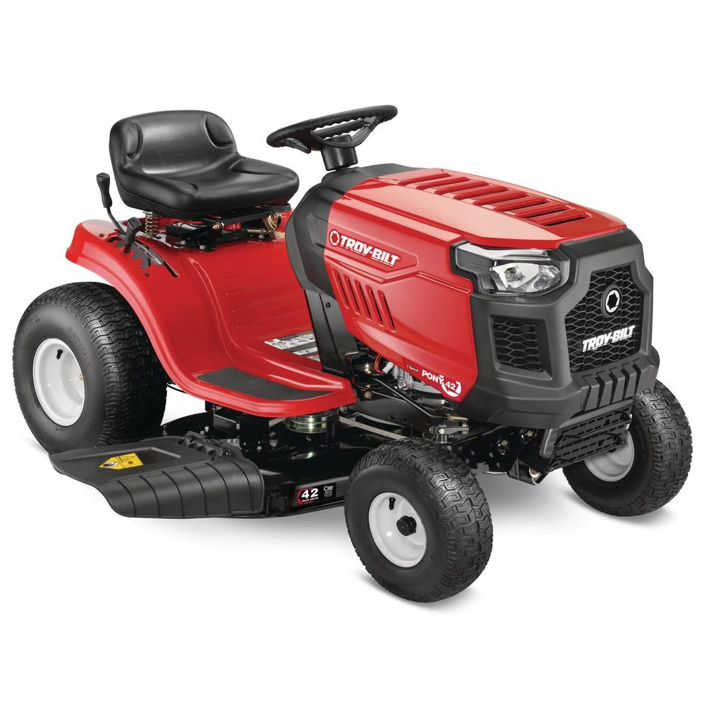 Troy Bilt Pony 42 In 17 5 Hp Manual Drive Briggs Stratton Gas Lawn Tractor Riding Mower With 7 Speeds And Mow In Reverse Pony 42 Riding Lawn Mowers Riding Mower Lawn Mower
