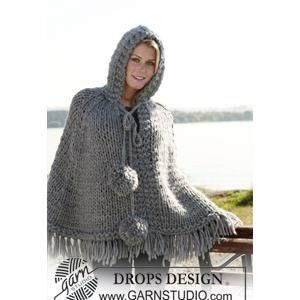 Ladies poncho knitting pattern with hood and pompoms in drops drops poncho with hood and pompoms knitted poncho in 2 threads eskimo or 1 thread polaris free pattern by drops design super chunky x dt1010fo