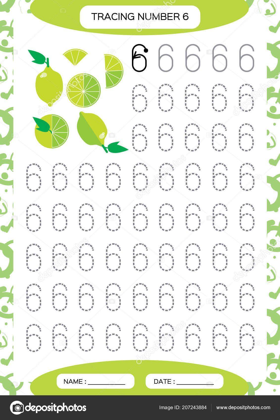 Number 6 Worksheet Preschool Clipart Number 6 Tracing In