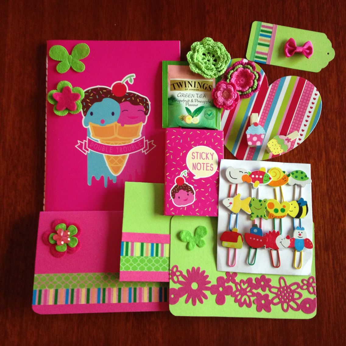 Hot Pink & Lime Green themed snail mail. Find me on insta @cegould