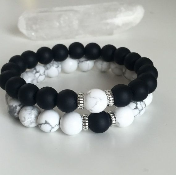 Homme Femmes Matte Onyx Malachite Gemstone Yoga De Perles Bracelet Guérison Yin Yang
