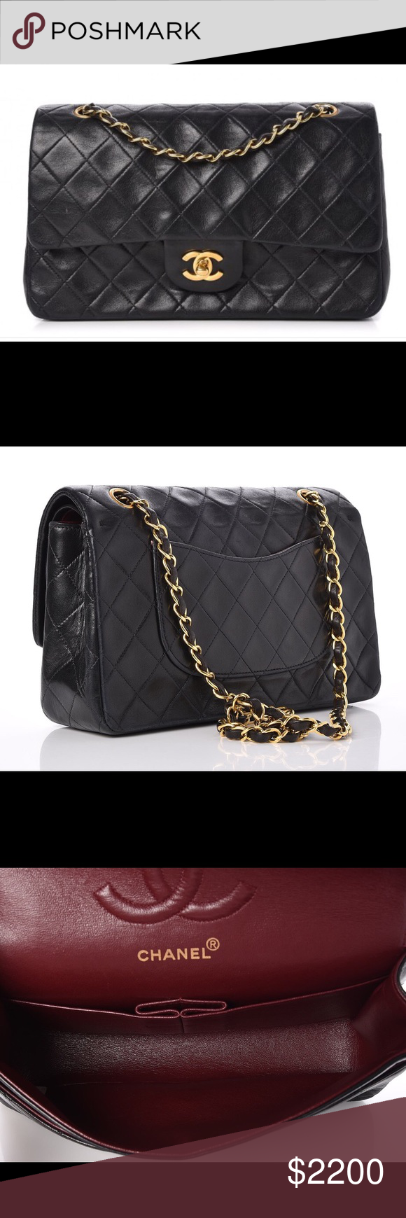 7195d63953fd CHANEL Lambskin Quilted Medium Double Flap Black Authentic CHANEL Lambskin  Quilted Medium Double Flap Black.