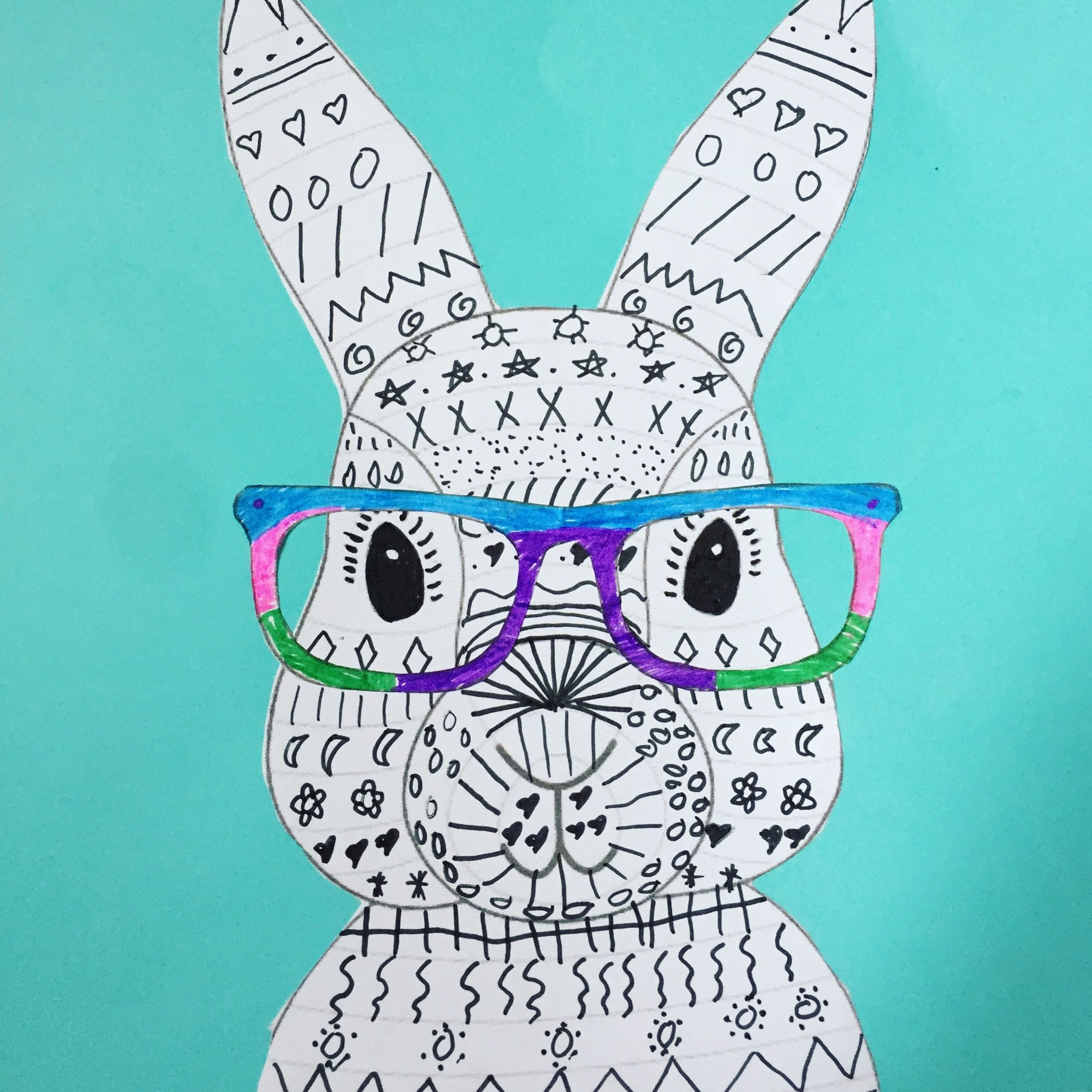 Easy Easter Bunny With Glasses With Printable Template Easter