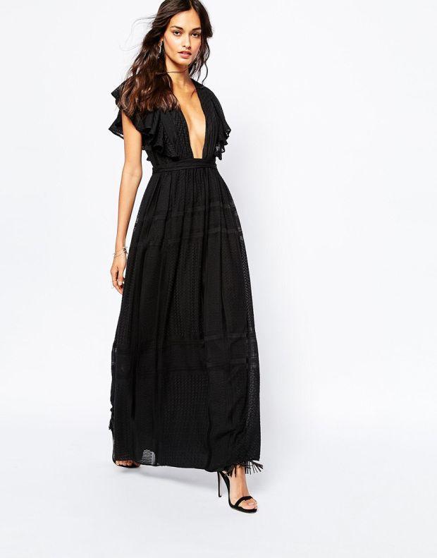 7b3cd89a9885 The Jetset Diaries μαύρο μάξι φόρεμα με βαθύ ντεκολτέ