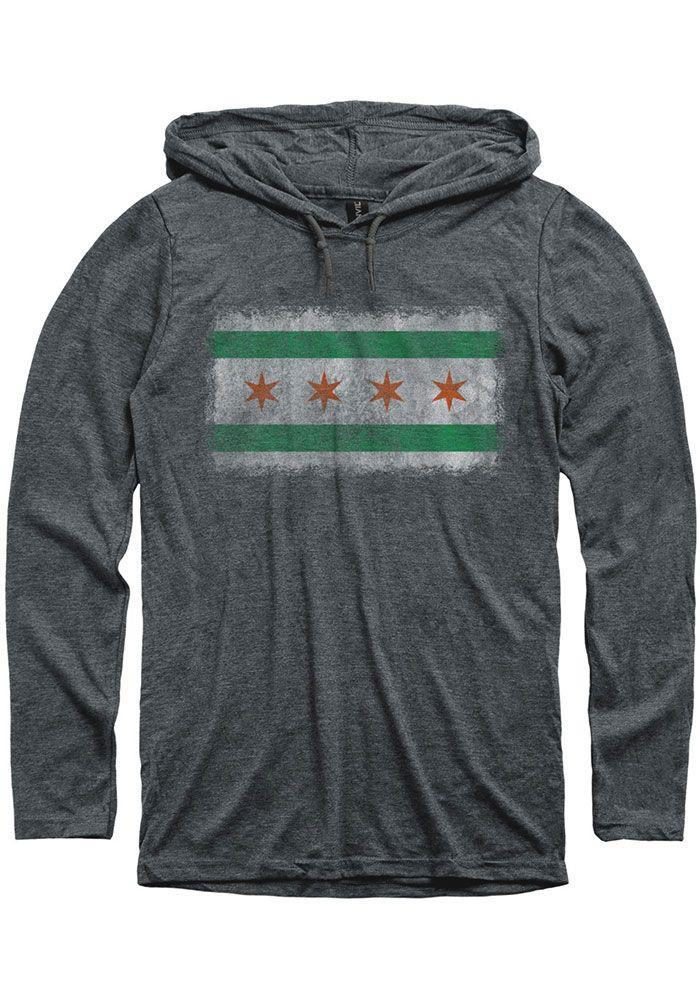 Mens Hoodies Chicago City Skyline W Flag Funny Pullover Hooded Print Sweatshirt Jackets