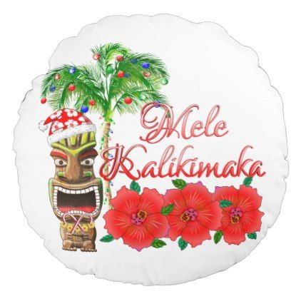 Santa Claus Tiki Mele Kalikimaka Round Pillow - merry christmas diy