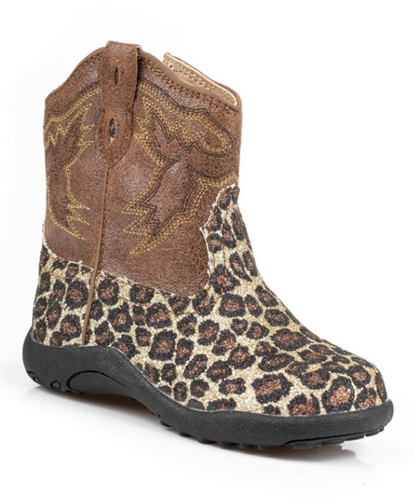 Roper Lexi Toddlers Girls Brown Faux Leather Cowboy Boots