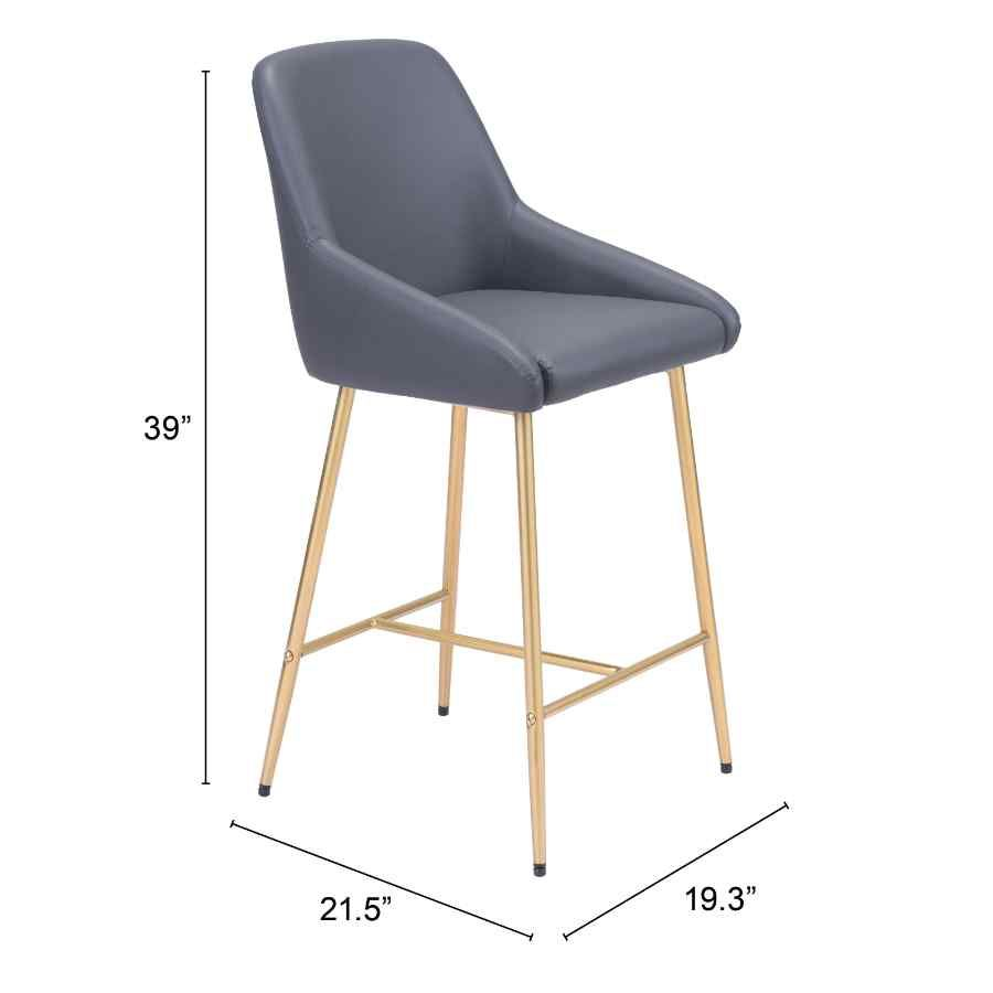 Gray & Gold Counter Height Chair Heavy Duty Stain Resistant Powder Coated Steel