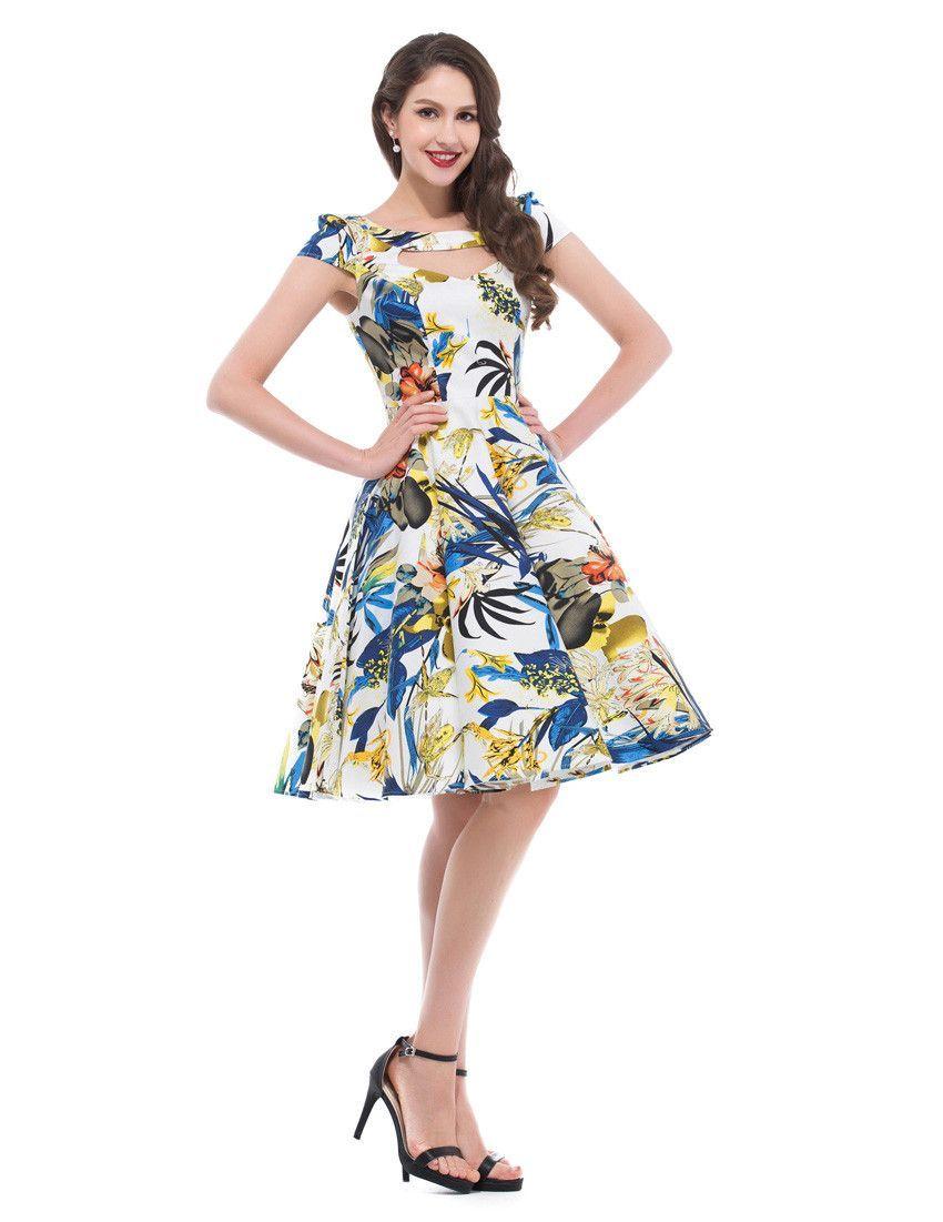 S s audrey hepburn style flower floral print women dresses