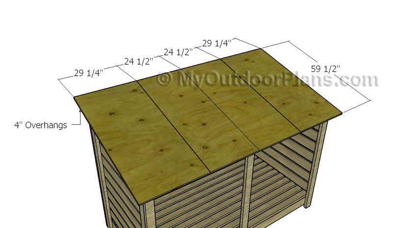 Attaching The Plywood Roof Wood Storage Sheds Storage Shed Plans Wooden Playhouse