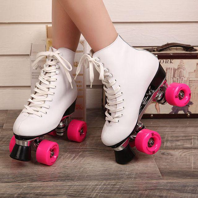 febe72d293 Reniaever F1 dupla patins com couro genuíno Base de Metal mulheres 4 rodas  patins patins adulto sapatos de Skate de duas linhas