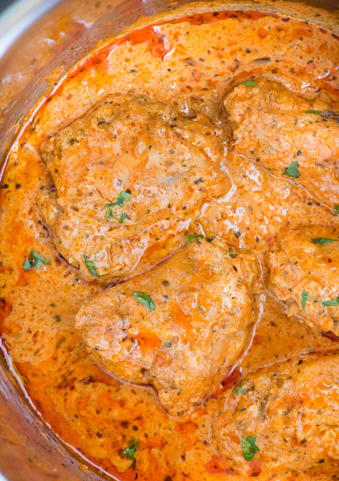 Instant Pot Chicken in a creamy tomato sauce with juicy ...