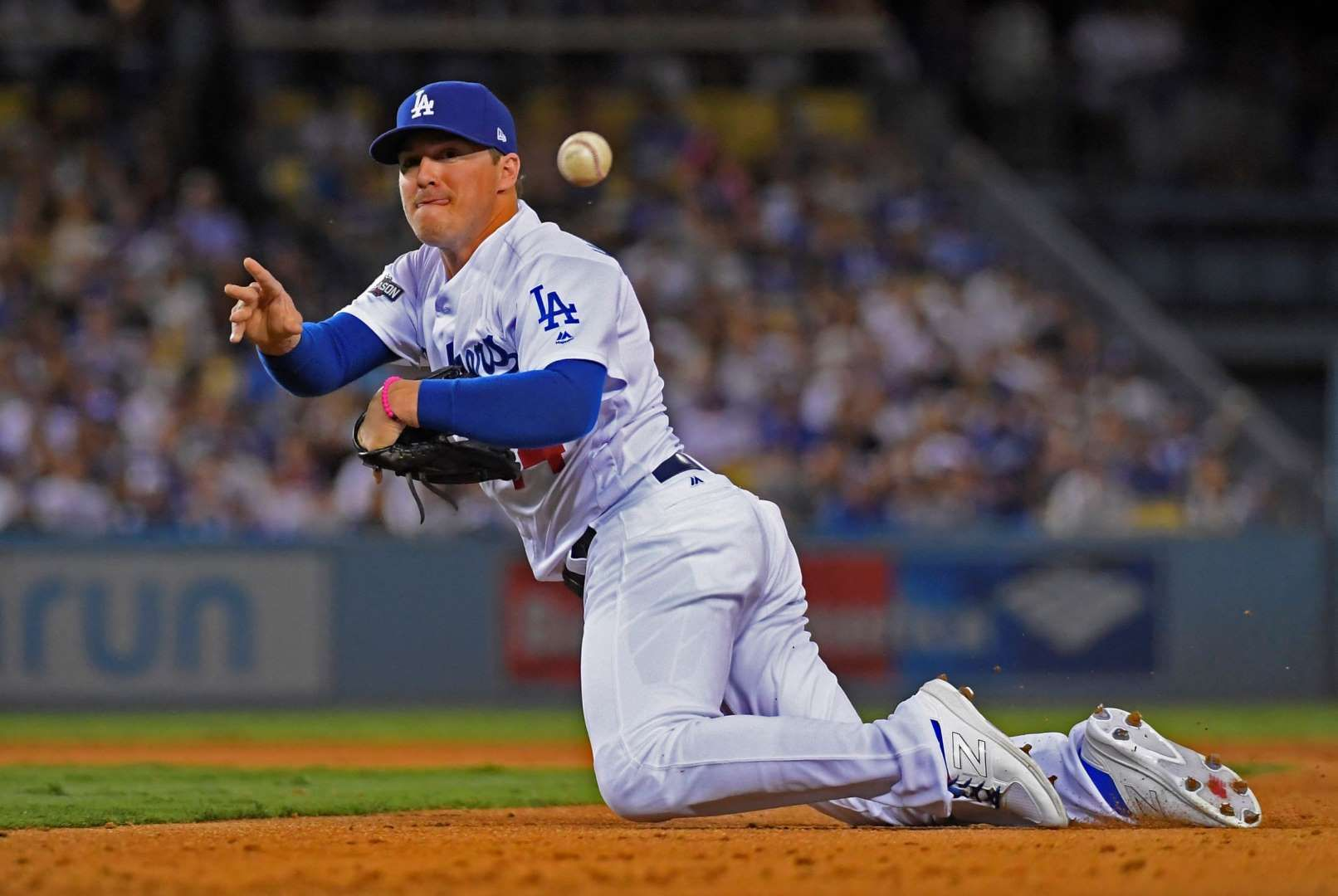 Desperate Throw The Dodgers Enrique Hernandez Tries To Make A Play During Game 4 Of The Nlcs Oct 19 In Los Angeles Dodgers Baseball Dodgers Mlb