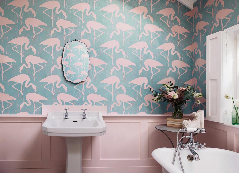Carta da parati Lahore Flamingo wallpaper, Bathroom
