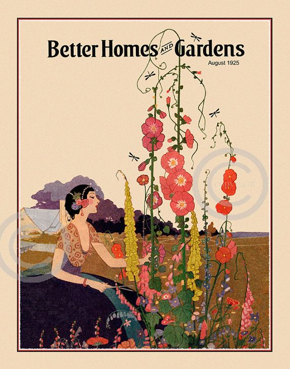 Awesome Art Deco Summer Garden Print, Lady Picking Flowers, Cottage, Better Homes  And Garden