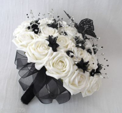 Wedding flowers - posy bouquet in ivory, black & silver with ...