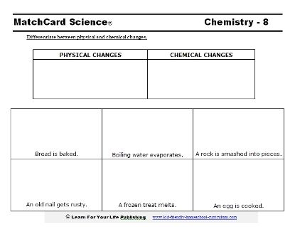 Use This Worksheet So Students Can Differentiate Chemical And