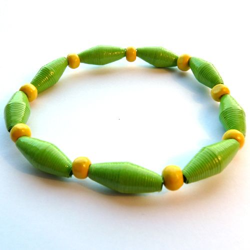 Paper Bead Bracelet Green and Yellow by Vicki Evans