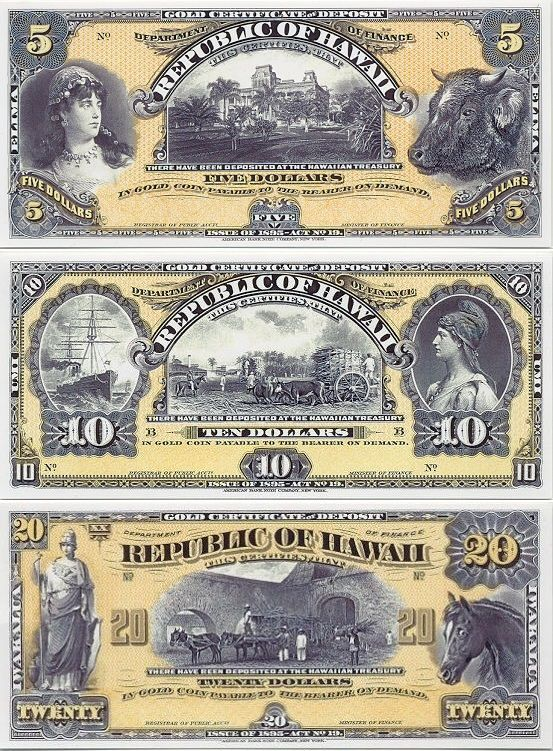 Hawaii 5 Dollars 1895 1899 Palace Woman Steer 10 Dollars