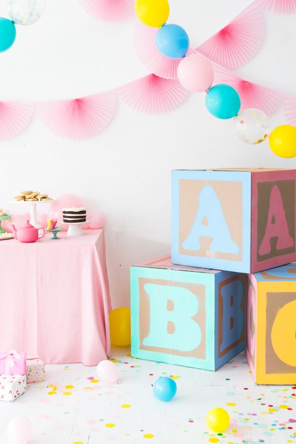 Giant Baby Blocks Are A Cute Diy Decoration For A Baby Shower Or
