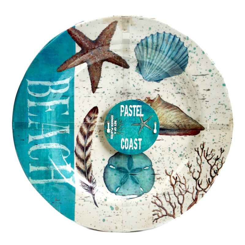 Pastel Coast Collection Set Of 4 Dinner Plates With Images Sea