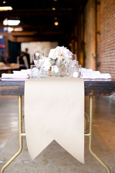 Great Simple Detail Kraft Paper Table Runner With Banner Cut Out And Love The Gold Sprayed Legs