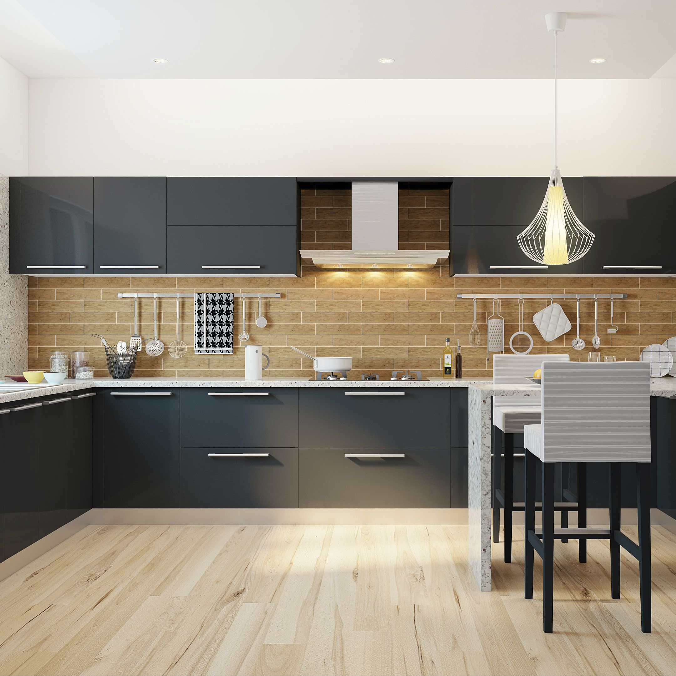 Kitchen Tiles Colour Combination: Sprawling Modular Kitchen With A Breakfast Counter