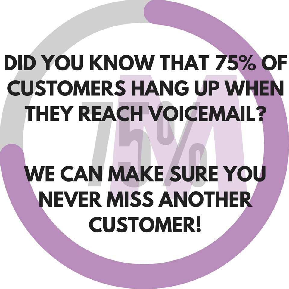 Did you know 75% of customers hang up when they reach a voicemail? We can make sure you never miss another customer! Divert your calls to directly to us, or let us pick up your overflow calls, and we will answer with your company name ensuring a professional first impression for your business. Call 0333 3448 771