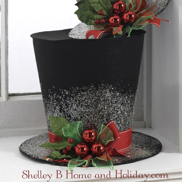 shelley b home and holiday black top hat christmas decoration 9 inch 3099 - Top Hat Christmas Decorations