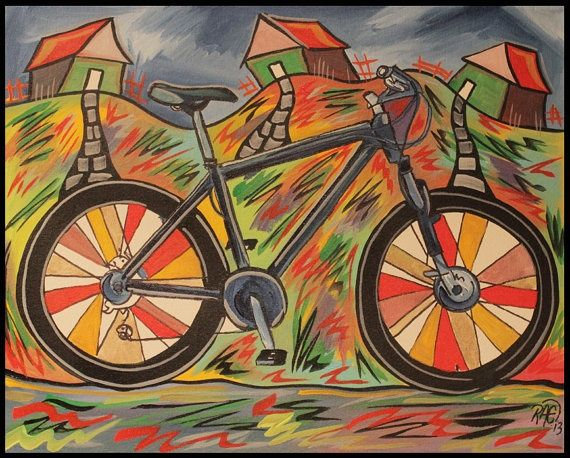 Abstract bicycle painting mountain bike painting funky for Bicycle painting near me