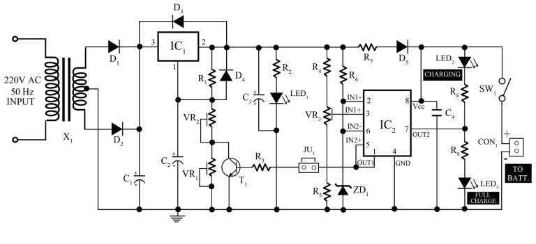 12v, 7ah smart battery charger circuit diagram, dc circuit, engineering  projects, electrical