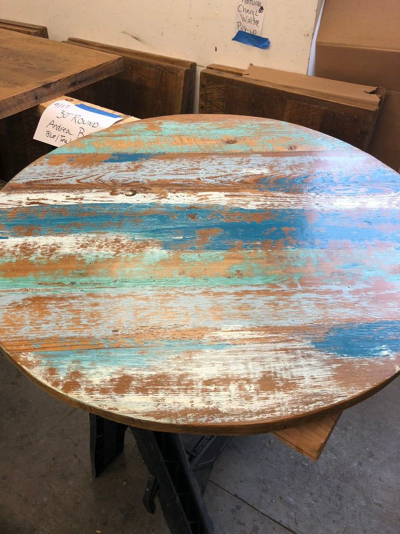 Rustic Reclaimed Round Coffee Table Top Reclaimed Wood Table Etsy Round Wood Coffee Table Coffee Table Wood Painted Dining Table [ 1059 x 794 Pixel ]